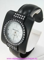 Montre femme strass bracelet clip métal laqué noir