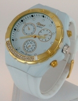 Montre Femme bracelet silicone softouch Dia 4,5 cm blanche