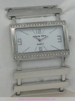Montre femme rectangle strass acier